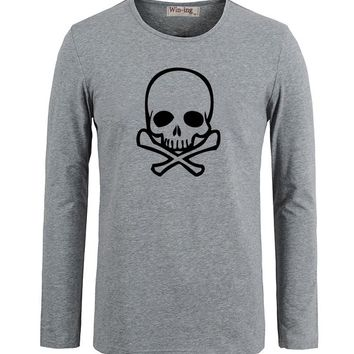 Summer Fashion Cotton T shirts Punk Poison Skull Pirate Cool Art Printed Long Sleeves T-Shirt Men Boy Graphic Tee Tops T shirt