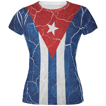 Distressed Cuban Flag All Over Juniors T Shirt