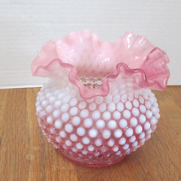 Vintage Fenton Cranberry Pink and White Opalescent Hobnail Ruffle Glass Vase c1950's