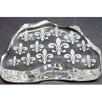 Cut Glass  fleur de lis pattern paperweight, 24% lead crystal