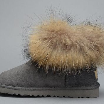 ESBON UGG Fox Women Fashion Casual Wool Winter Snow Boots Grey