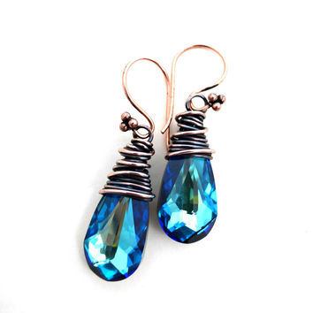 Copper wire wrapped and Blue Crystal teardrop earrings. Swarovski crystal pendants. Handmade jewelry.