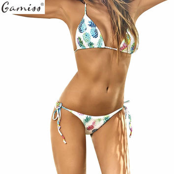 Gamiss Fruit Print Triangle Bikinis Set Brazilian Pineapple Pattern Swimwear Sexy Halter Women Swimsuit Biquinis Bathing Suit