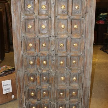 Antique Wardrobe Armoire Storage Cabinet Brass Medallion Bedroom Closet Style Dresser