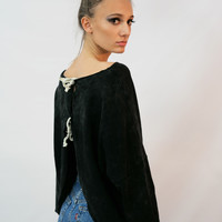 """Walk Away"" Terry Sweatshirt with Open Tie Back"