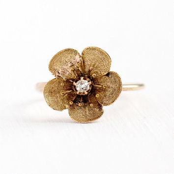 Antique Flower Ring - 14k & 10k Rosy Yellow Gold Diamond Stick Pin Conversion - Size 5 1/4 Vintage Victorian Era Fine Floral Petals Jewelry