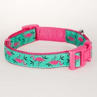 BlueberryPet Pink Flamingo on Light Emerald Designer Nylon Pet Puppy Dog Collar