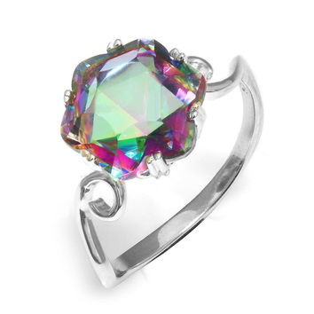 Jewelrypalace Women's 3.2ct Chessboard Cut Natural Mystic Rainbow Topaz 925 S...