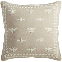 Romantic Glam Embroidered Bees Pillow