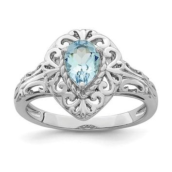 Sterling Silver Genuine Aquamarine Teardrop Pear Filigree Ring