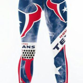 Houston Texans Medium Womens Leggings #99 JJ Watt Football Running Yoga Stretch
