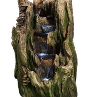 Cascading Water Fountain Electric Tree Trunk Falls Garden Fixture LED Lights New