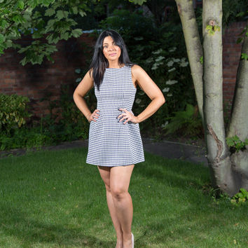 Darcey Navy Blue & White Houndstooth Bell Dress