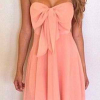 Pink Strapless Bowknot Mini Dress