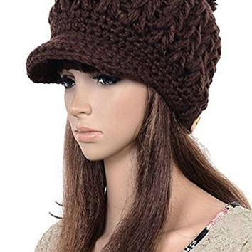 DAYAN Men Women Slouchy Crochet Warm Brim Cabled Knit Hats Beanie Newsboy Cap Coffee