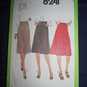 Spring Fever Sale UnCut 1970's Simplicity Sewing Pattern, 8241! Size 6 & 8, Waist 23-24, Women's Misses Teens, Mid-length Skirts, Summer and