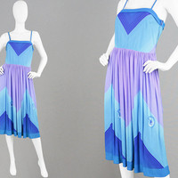 Vintage 70s Midi Dress 1970s Sundress Spaghetti Straps Strappy Dress Chevron Dress Summer Dress Purple & Blue Beach Dress Indie Festival Sun