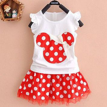 2018 Cartoon Mouse Princess Birthday Party Outfit Girls Dresses Red Dot Kids Clothing