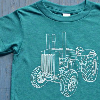 Awesome Unisex Kids TRACTOR Tshirt - Super Soft Vintage Feel Tri-Evergreen Kids Tractor Tee