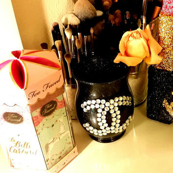 chanel Cc Rhinestones bling pop art glitter makeup brush holder.