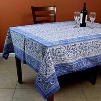 Rajasthan Block Print Floral Round Tablecloth Rectangular Cotton Table Linen