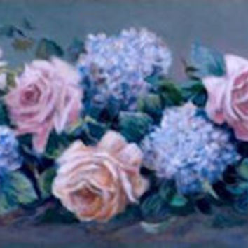 """Roses and Hydrangeas"" Susan Rios Keepsakes 4 x 12"