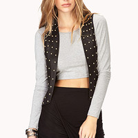 Studded Out Faux Leather Moto Vest