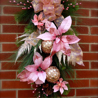 """Christmas Vertical Swag - """"Delightfully Different"""" Pine Swag, Christmas Door Swag, Winter Door Swag, Christmas Wall Swag,"""