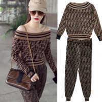 Fendi Women Round Neck Top Sweater Pullover Sweatshirt Pants Two-Piece