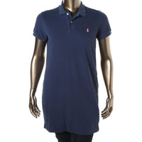 Polo Ralph Lauren Womens The Mesh Mini Knit Short Sleeves Shirtdress