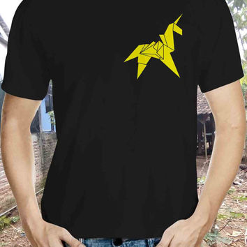 Origami Unicorn T-Shirt for Men Unique Tshirt Urban Prey