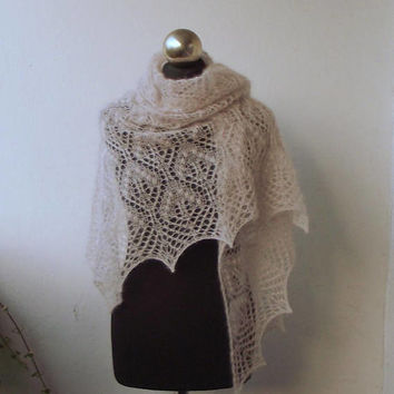 Light Beige hand knitted  shawl with lace  pattern