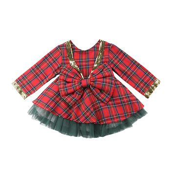 Kid Girl Plaid Tutu Bow Backless Dress 2pcs Party Outfits Set Clothes Christmas Kids Baby Girls Clothing Cute Princess 1-6T