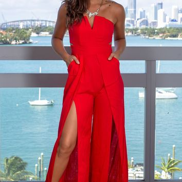 Red Strapless Jumpsuit with Pockets