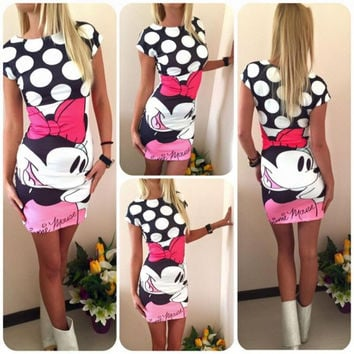 Women's Fashion Hot Sale Dress Mouse Print One Piece Dress [6325834369]
