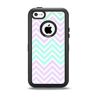 The Light Teal & Purple Sharp Chevron Apple iPhone 5c Otterbox Defender Case Skin Set
