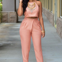 Pinkish Apricot Silky Pleated Two Piece Set