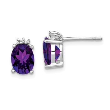 925 Sterling Silver Rhodium Oval Amethyst and Diamond Post Earrings