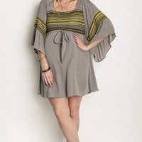 Striped Peasant Plus Maternity Dress