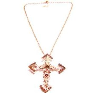 Gold Crystal Cross Chain Necklace