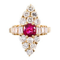 Marquis-Shaped Diamond and Ruby Cluster Ring