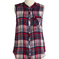 ModCloth Mid-length Sleeveless Camp It Up Top in Dusk
