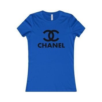 PEAPJ1A Chanel' Hot Stylish Ladies Men Personality Letter Print Short Sleeve Round Collar T-Shirt Top Blue I