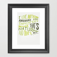 I Love Anything Awkward and Imperfect Because That's Natural and That's Real - Marc Jacobs Framed Art Print by One Curious Chip