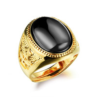 21mm Agate Gold Plated Adjustable Men Ring Jewelry Clothing Accessories