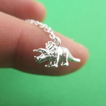 3D Miniature Triceratops Dinosaur Shaped Pendant Necklace in Silver