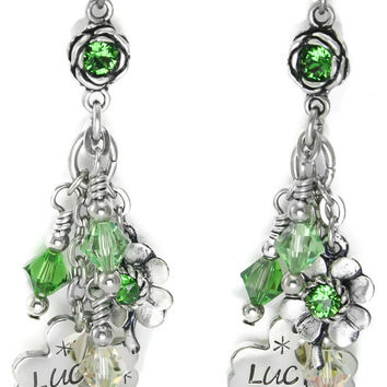 Celtic Earrings - Lucky Earrings - St. Patricks Day Earrings - Good Luck Earrings - Shamrock Earrings - Four Leaf Clover Earrings - Dangles