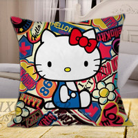 dope hello kitty on Square Pillow Cover