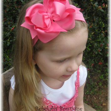 Hot Pink Hair Bow Headband Infant Unique Exclusive Toddler Girls Baby Bowband Hairbow Bows or Clip Barrette Summer Wedding Portrait Pageant
