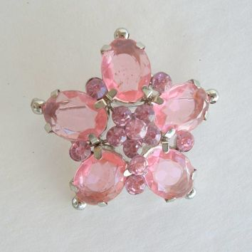 Pink Cushion Cut Star Brooch Lightweight Chrome Vintage Jewelry